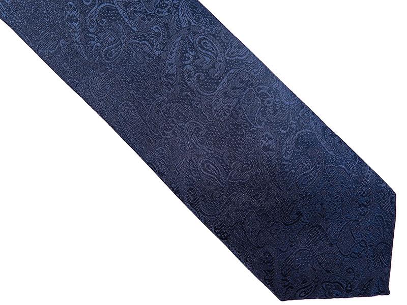 Granatowy krawat we wzór paisley D167