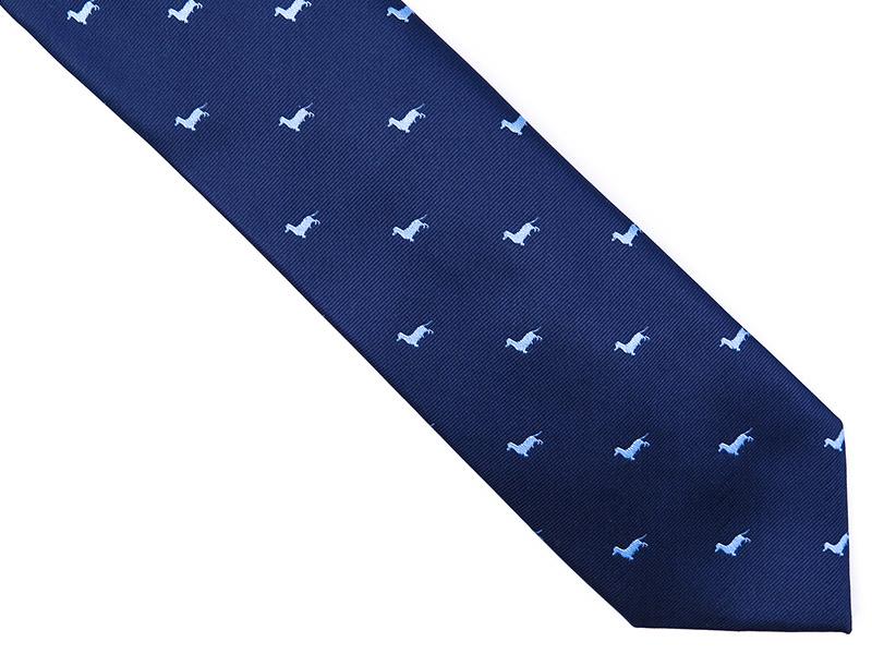 Granatowy krawat męski z jamnikami D174