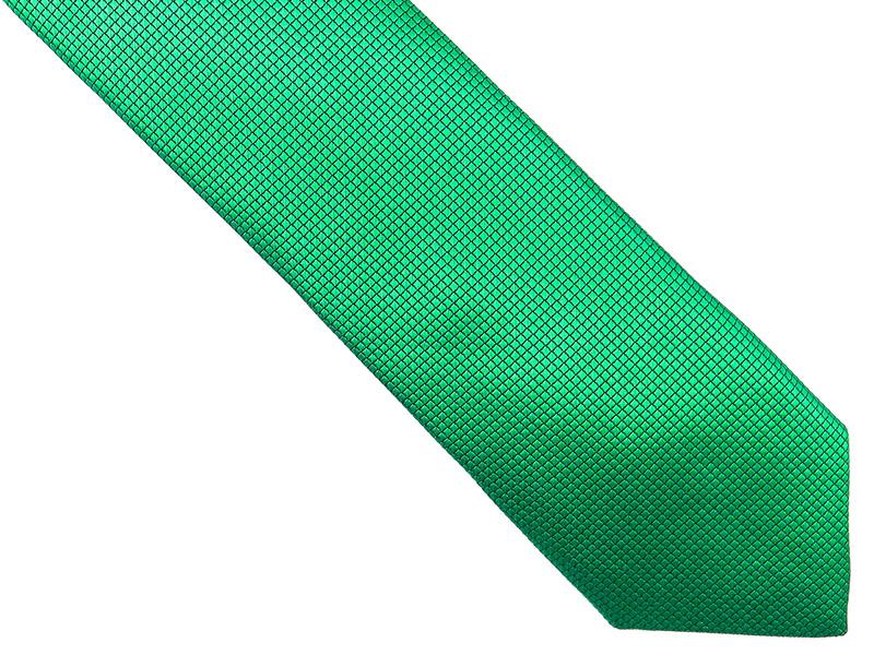 Zielony krawat męski w kratkę D179