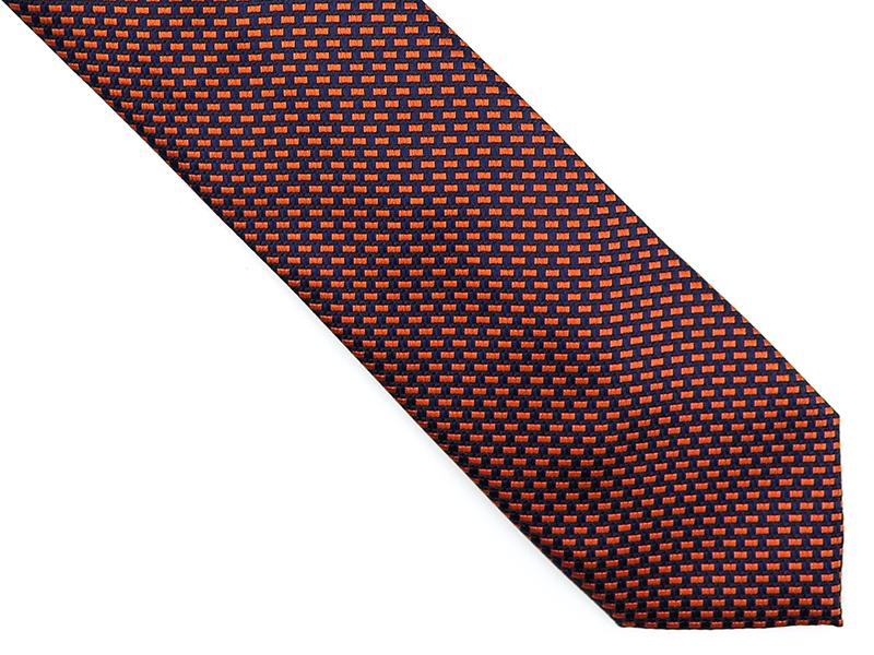 Granatow-pomarańczowy krawat męski w kratkę D180