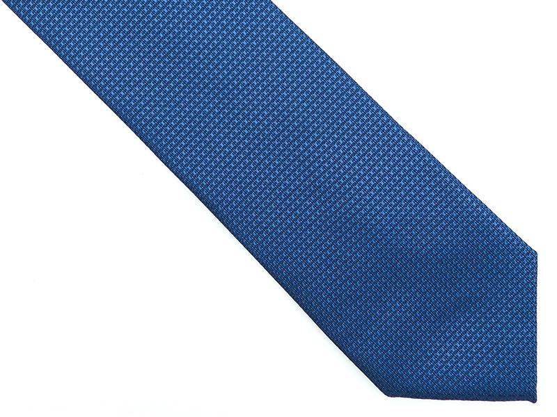 Niebieski krawat męski w mikrowzór D184