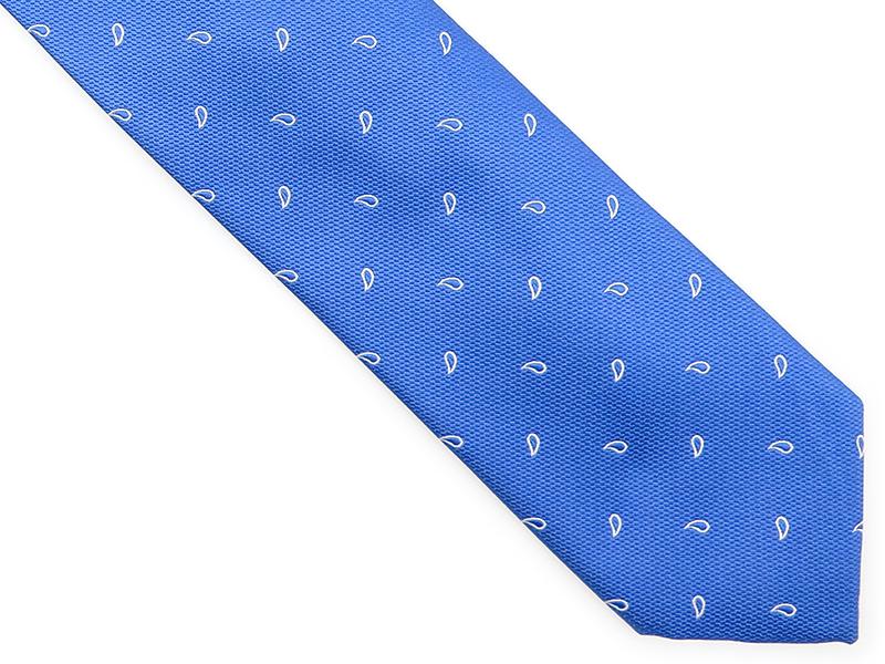 Błękitny krawat w biały paisley D193