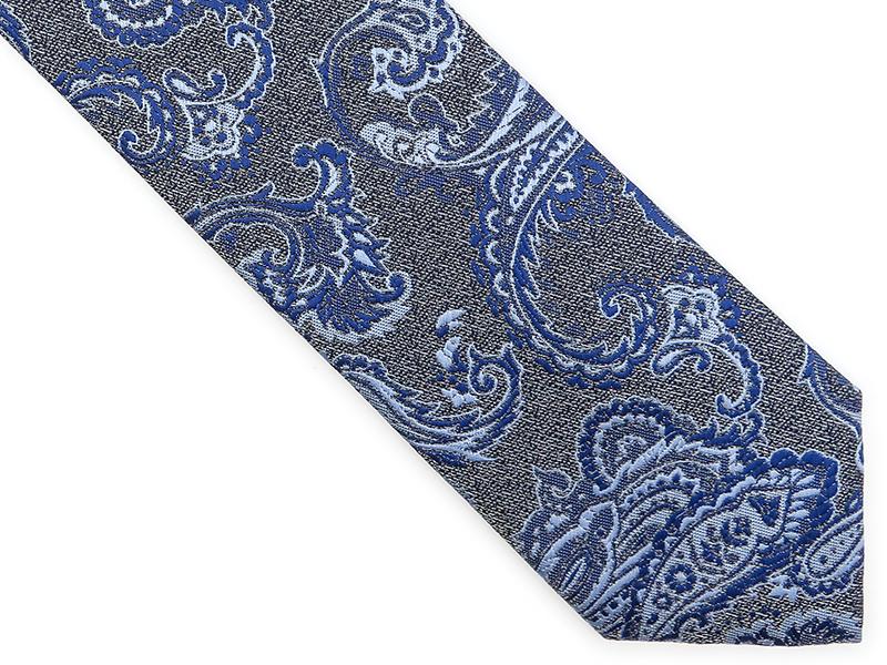 Szary krawat w niebieski paisley D199