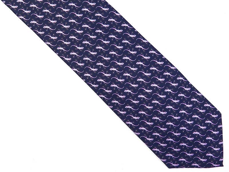Granatowy krawat w jaszczurki D208