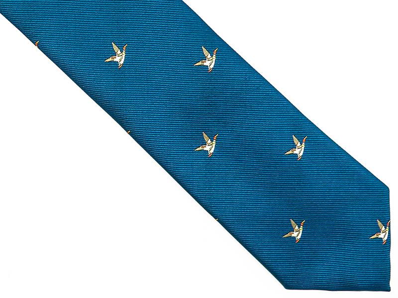 Niebieski krawat w kaczki D211