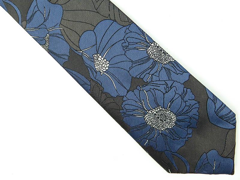 Grafitowo-niebieski krawat w kwiaty D214