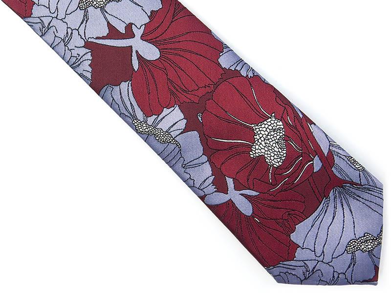Bordowo-niebieski krawat w kwiaty D215
