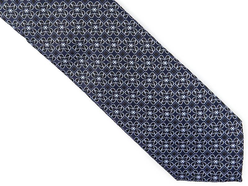 Ciemnogranatowy krawat w kwiaty D223