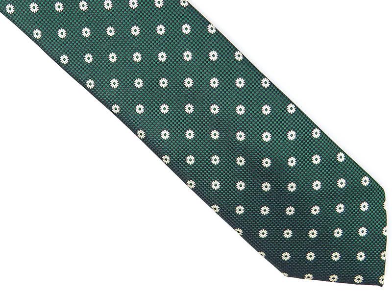 Zielony krawat w kwiaty D225