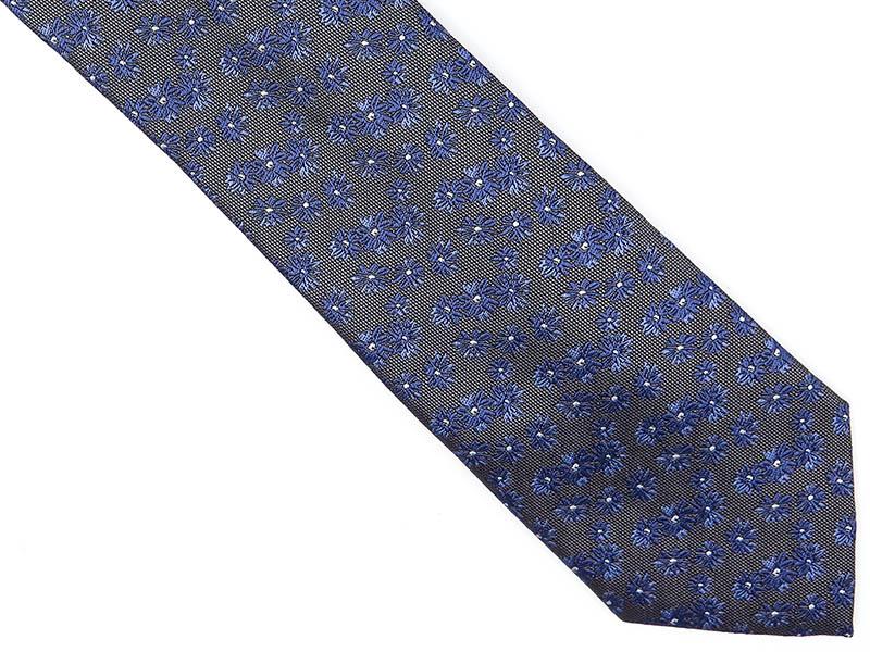 Grafitowy krawat w niebieskie kwiaty D226