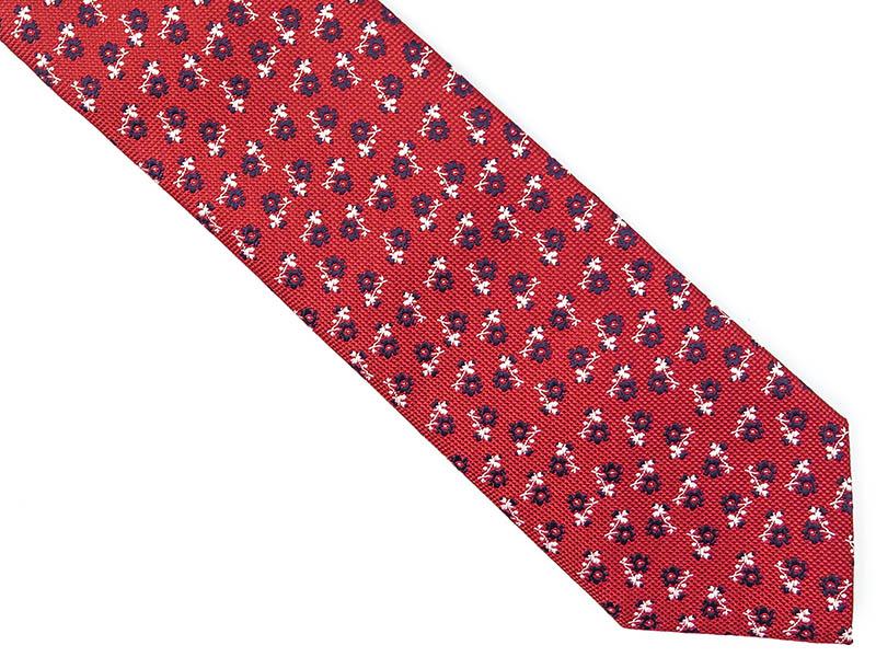 Czerwomny krawat w kwiaty D227