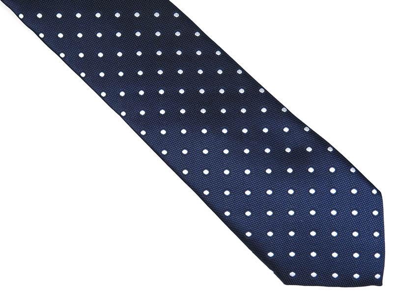 Granatowy krawat męski w białe kropki D229