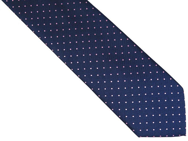 Granatowy krawat męski w różowe kropki D230