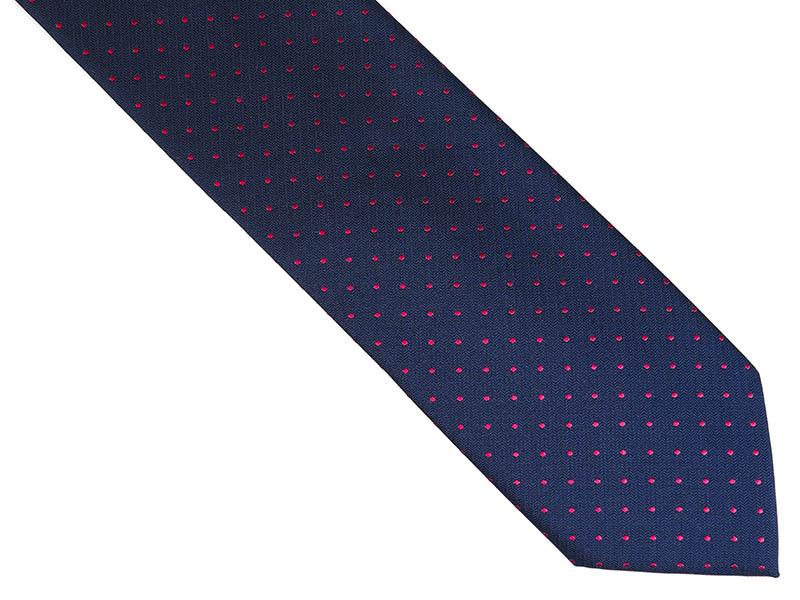 Granatowy krawat męski w czerwone kropki D231