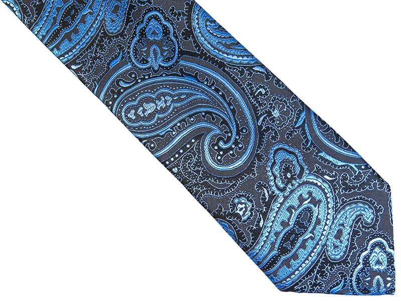 Niebiesko-szary krawat w paisley D232