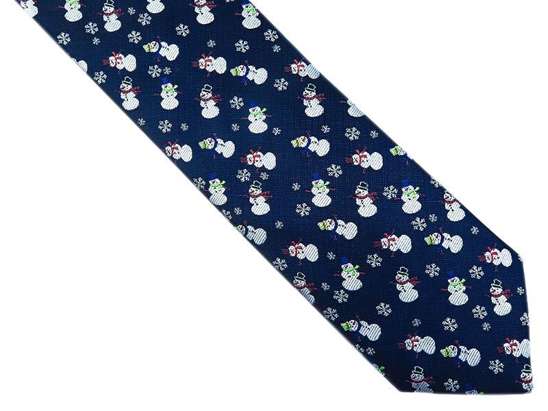 Granatowy krawat w bałwanki D240
