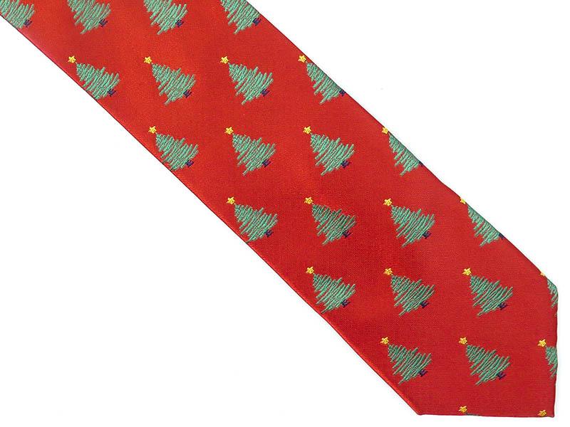 Czerwony krawat w choinki D242