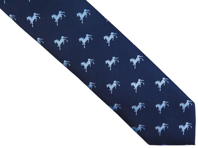 Granatowy krawat męski w konie D249