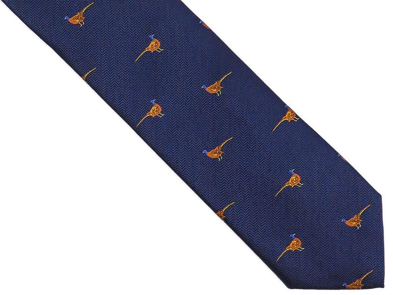 Granatowy krawat męski w bażanty D250