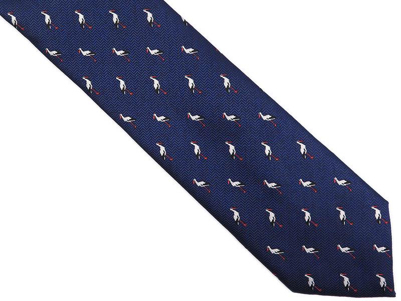 Granatowy krawat męski w bociany D251