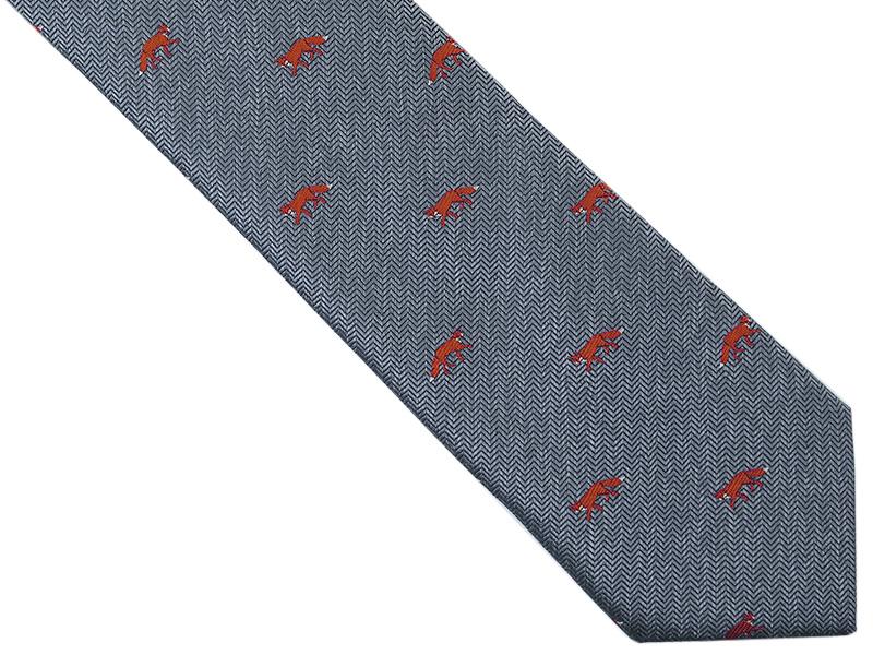 Szaro-srebrny krawat męski w lisy D260