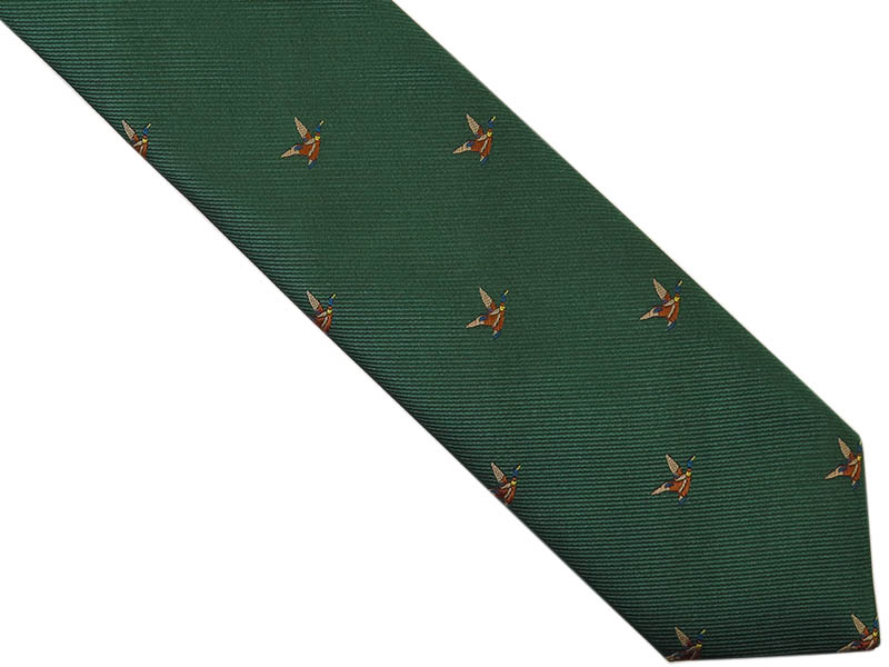 Zielony krawat męski w kaczki D261