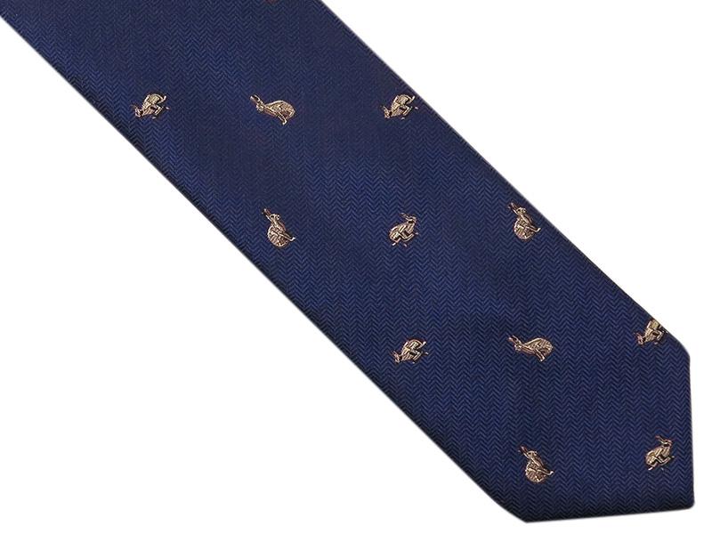 Granatowy krawat męski w króliki D263