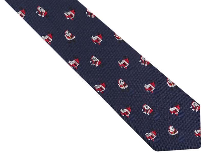 Granatowy krawat męski w świąteczny wzór - Mikołaje D266