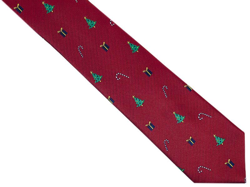 Bordowy krawat męski w świąteczny wzór D267