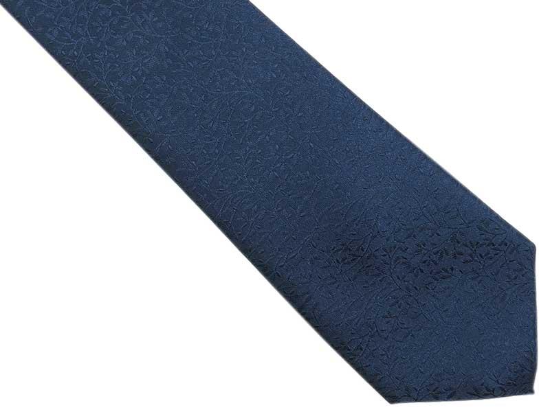 Granatowy krawat męski we florystyczny wzór D268