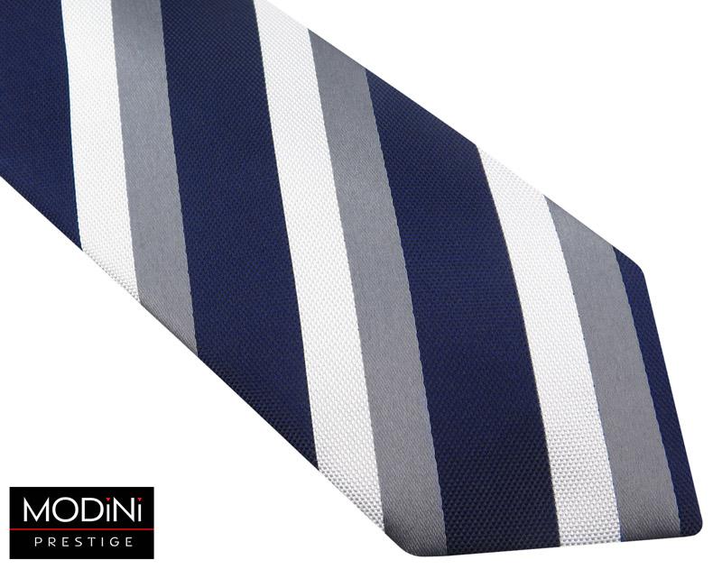 granatowy krawat męski w biało-szare paski