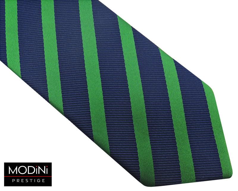 granatowy krawat męski w zielone paski