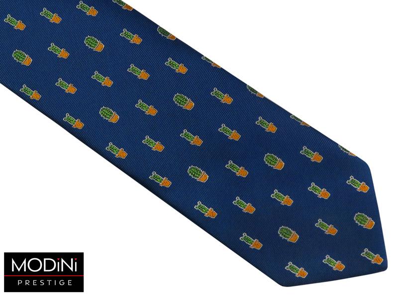 granatowy krawat w kaktusy