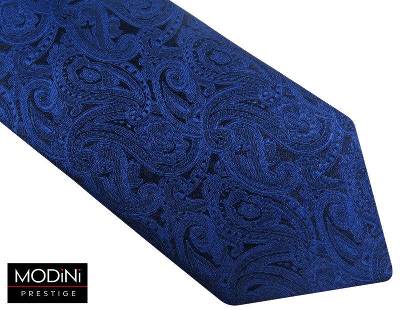 granatowy krawat męski w niebieski paisley