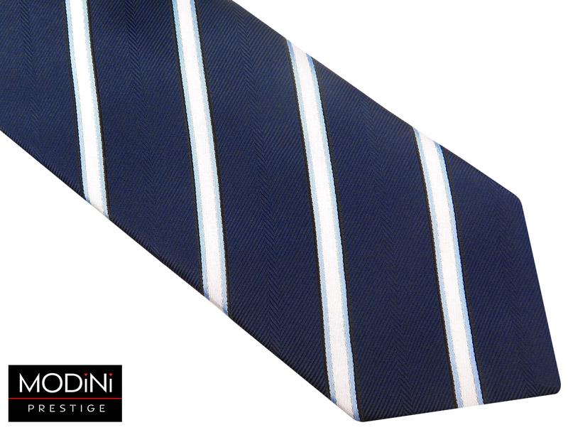granatowy krawat męski w biało-błękitne paski