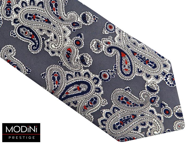 szary krawat męski we wzór paisley
