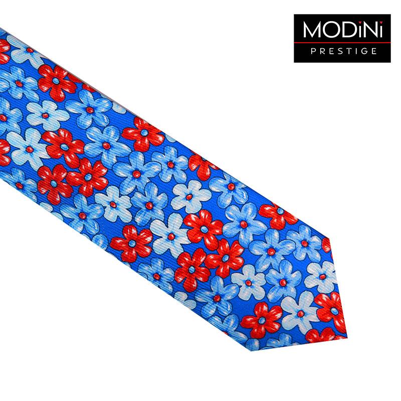 Niebieski jedwabno-bawełaniany krawat w kwiaty