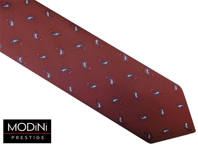 Bordowy krawat - szary paisley