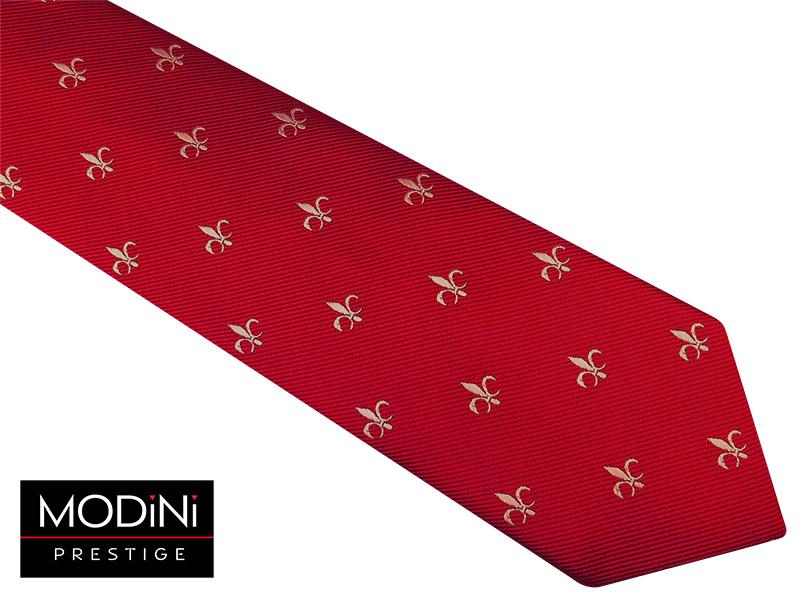 Czerwony krawat męski - szary ornament