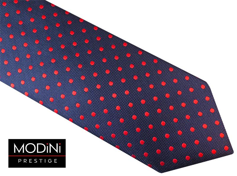 Granatowy krawat męski w czerwone kropki