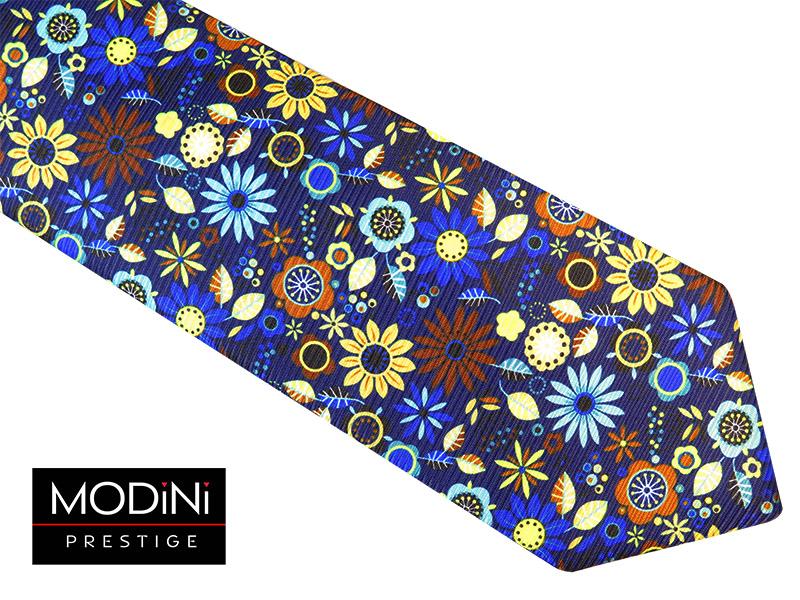 Granatowy oryginalny krawat w kwiaty