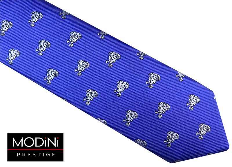Niebieski / kobaltowy krawat męski - motocykle
