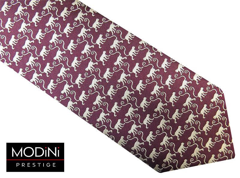 Bordowy krawat męski w małpki