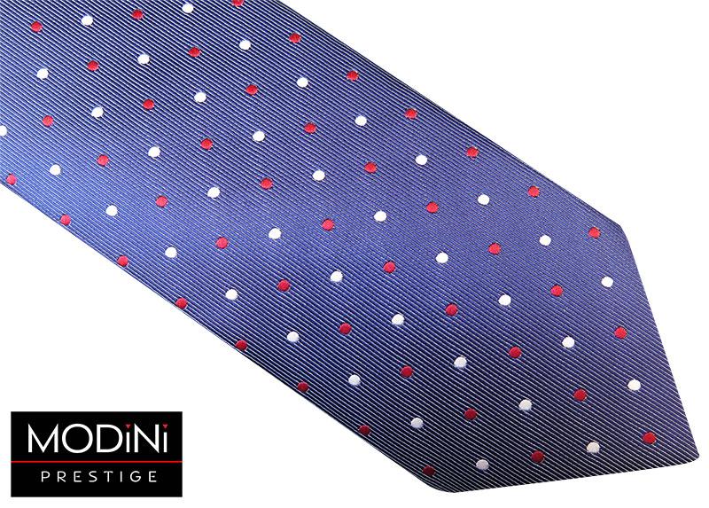 Grafitowy krawat męski w biało-czerwone kropki