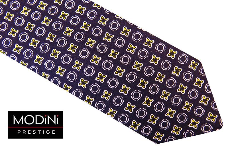 Granatowy krawat męski - biało-żółty wzór