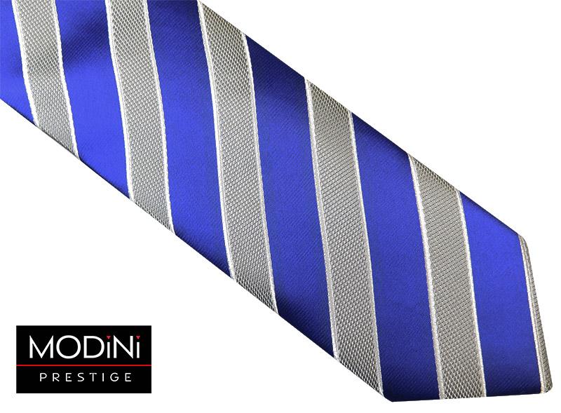 Niebiesko-szary krawat w ukośne paski