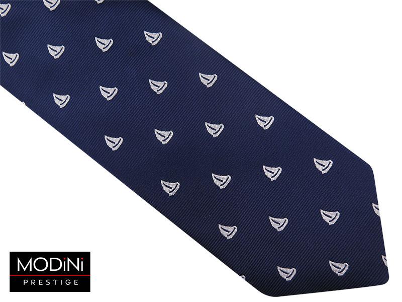 Granatowy krawat męski - żaglówki D71
