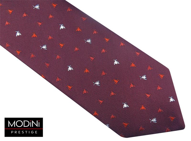 Bordowy krawat męski w owady D83