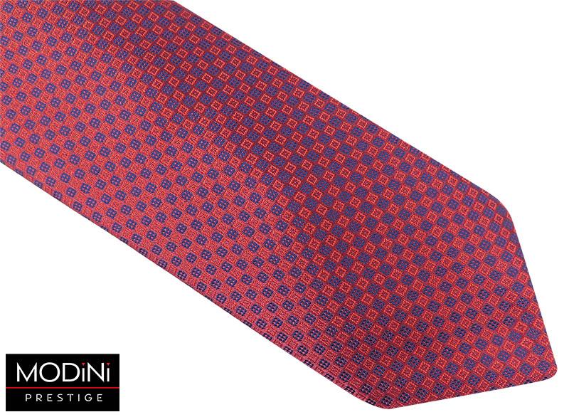 Bordowy krawat męski w czerwono-granatowe kwadraty D59