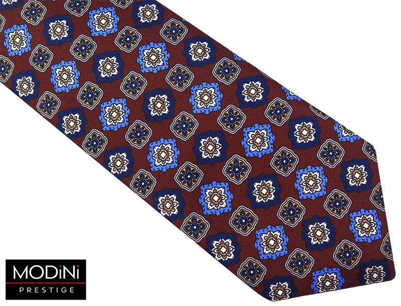 Bordowy krawat w kwiaty D51